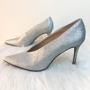 Vince Camuto Silver Glitter Heels